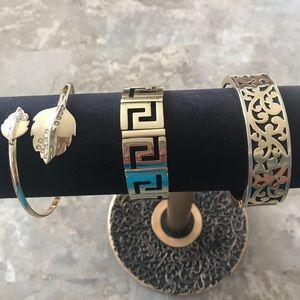 Set of Three Black and Goldtone Bracelets